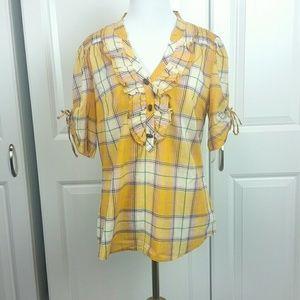 Anthropologie Odille Yellow Plaid Shirt